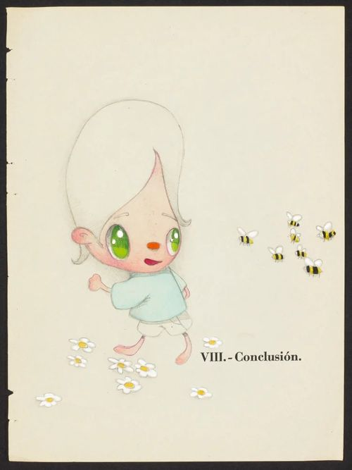 blank white background and a child with white hair and big green eyes who is running away from a swarm of bees