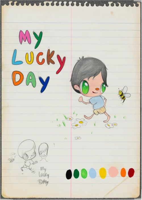 notepad with blotches of different colours dotted along a line at the bottom of the page, featuring a child running from a bee and text that reads 'MY LUCKY DAY'