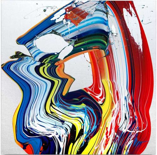 red, yellow, blue, black and white paints swirled and mixed on a white canvas