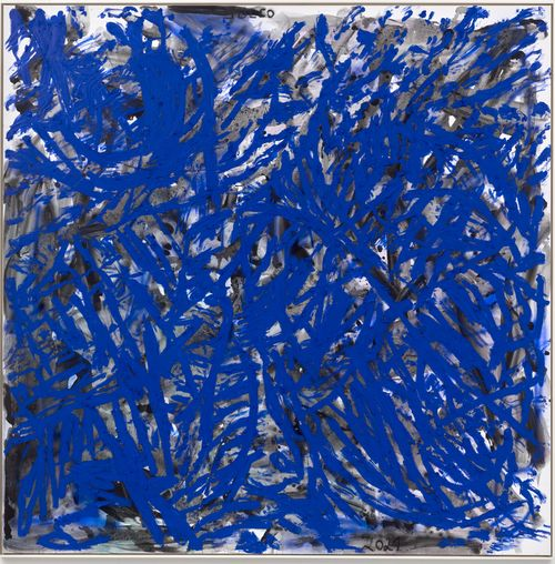 abstract blend of blue and black lines on white canvas