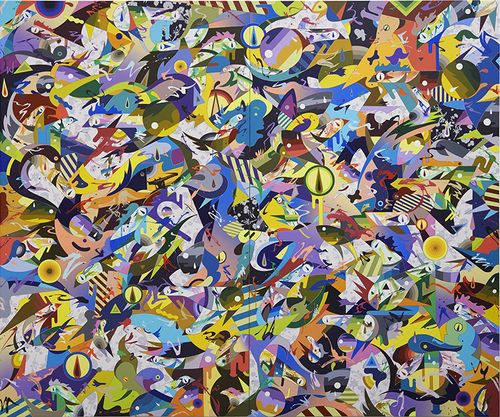 layers of brightly coloured shapes, patterns and animals all overlapping one another