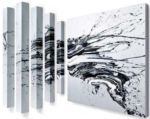 one square painting with grey background and black and white paint splashed onto it, and five pillars of the same colours to the side of it