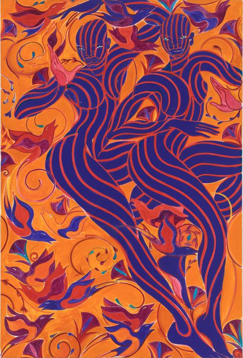 orange background with birds and twirling patterns with two dancing figures in blue and red stripes