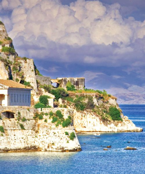 old fortress off the coast in corfu greece