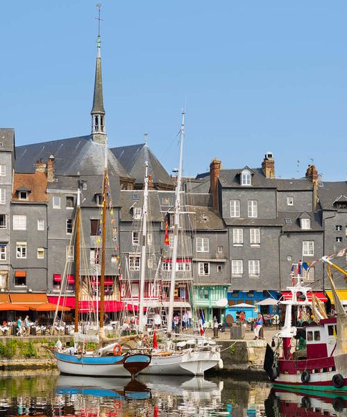 yachts in honfleur harbor during the summer