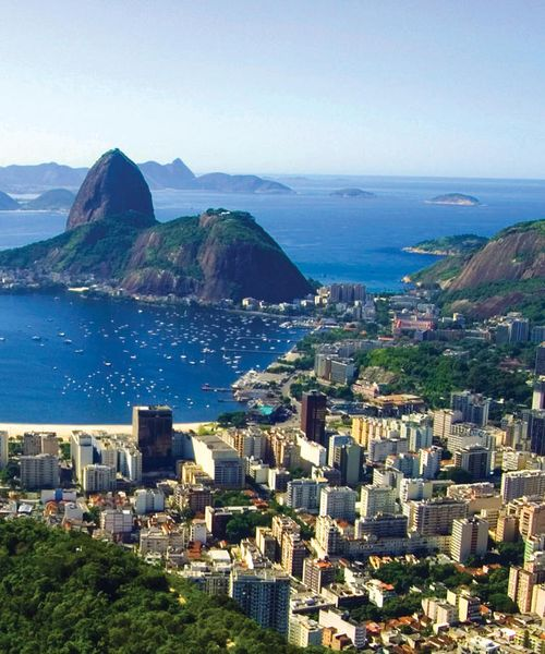 aerial view of rio de janerio city through the bay in brazil