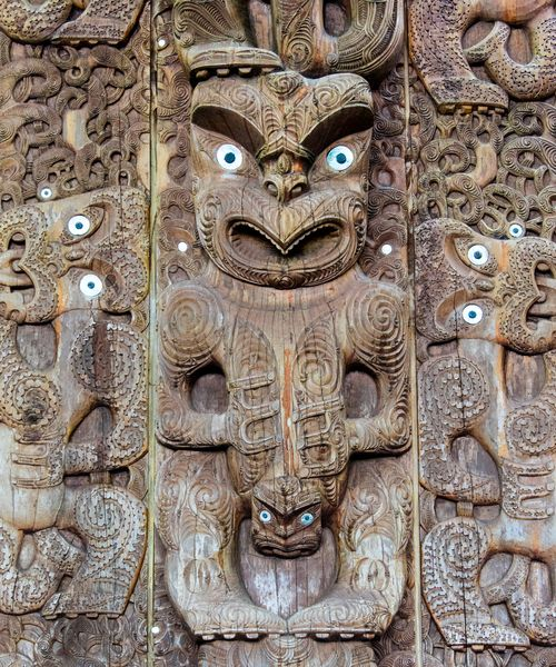 a maori wood carving from new zealand