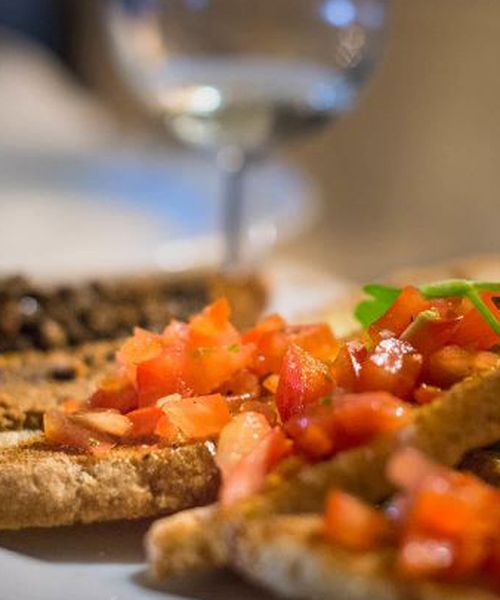 a dish of bruschetta