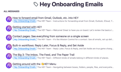 A lsit with Onboarding emails