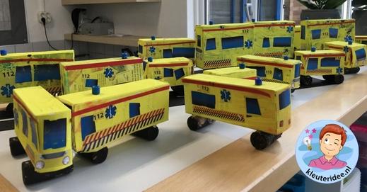 ambulance knutselen met download 2, kleuteridee