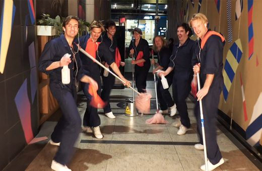 The Inspired Unemployed keeping it clean at The Galeries