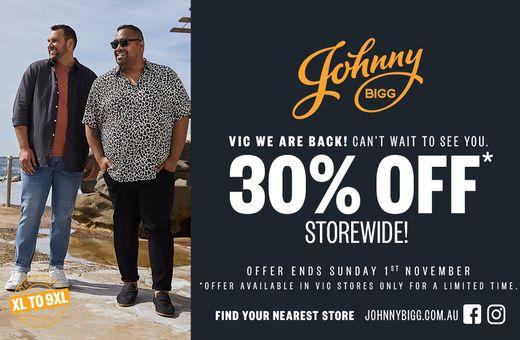 30% off storewide at Johnny Bigg!