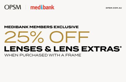 Medibank Members Offer: Save 25% off Lenses*
