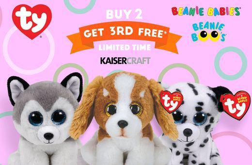 Kaisercraft's Buy 2 Beanie Boos, get a 3rd FREE
