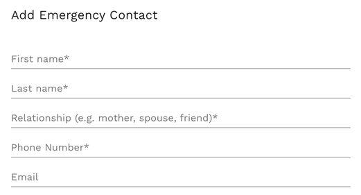 Flex Legal Emergency Contact fields