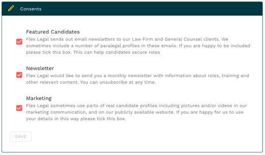 Flex Legal profile consent tick boxes