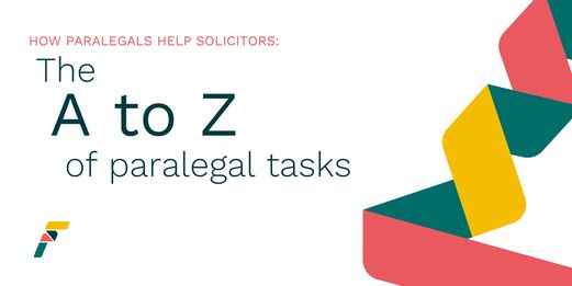 A Flex Legal blog banner in white, detailing the A to Z of paralegal tasks