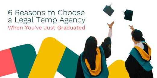 Recent law graduates throw their graduation hats in the air. As they do so, they consider joining a legal temp agency.