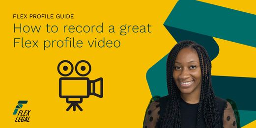 A Flex Legal Blog banner featuring Tanya Robinson, for a post about recording a Flex profile video