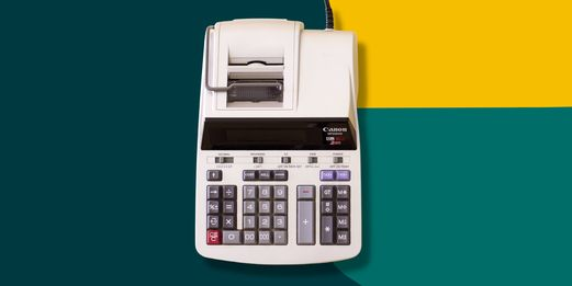 An old-fashioned tax calculator sits centre stage, encapsulated by the surrounding Flex legal branding.