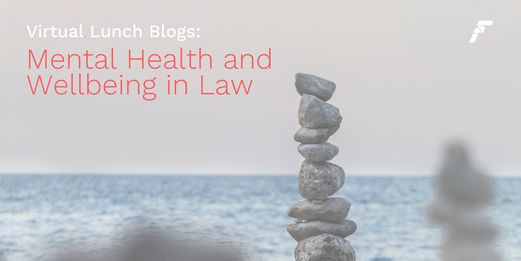Rocks balance before a faded ocean, the mental health and wellbeing title emerges from the seafoam