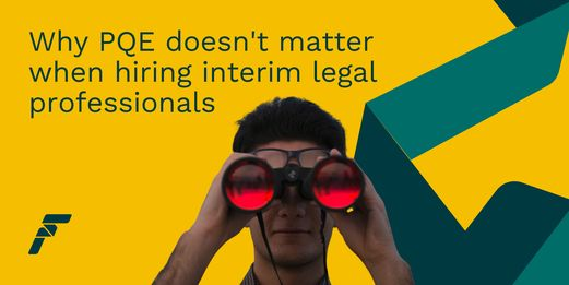 A man peers at you through red tinted binoculars, as you search for interim legal professionals