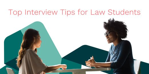 A job interview is seen in profile. Two people, an interviewer and interviewee, appear before the Flex Legal branding