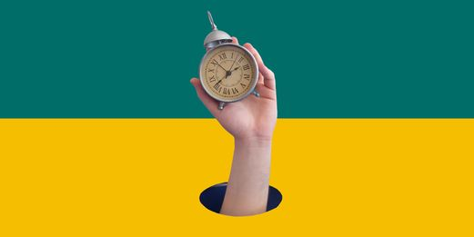 A hand emerges from a hole, clutching an old fashioned alarm clock. Green and yellow background.