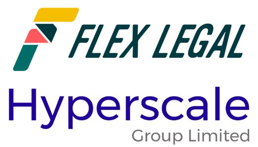 Flex Legal logo above the Hyperscale Group Limited Logo