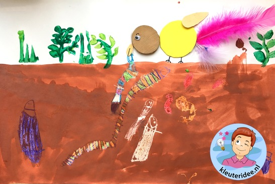 collage met worm, Kindergarten worms craft, kleuteridee.nl 3