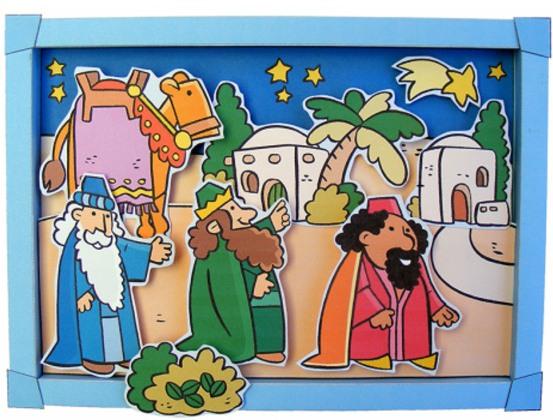 Kerst, Wijzen uit het Oosten, pop up kaart voor kleuters - , kleuteridee.nl ,Christmas nativity, wise men pop up card, free printable