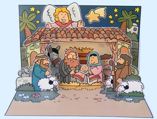 Kerst, Jezus geboren, pop up kaart voor kleuters - , kleuteridee.nl ,Christmas nativity, pop up card, free printable