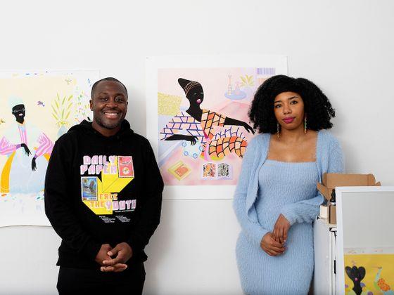 Curator Larry Ossei-Mensah with an artist Grace Lynne Haynes standing in the artist studio