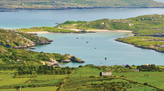 elevated view of ballydonegan bay off of beara peninsula in ireland
