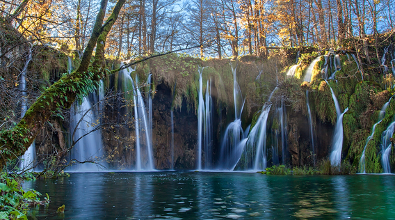 waterfalls at plitvice lakes national park in split