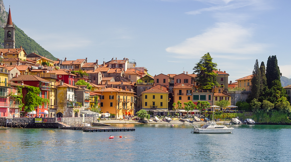 colorful buildings by lake como