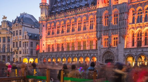 grand place lit up in brussels