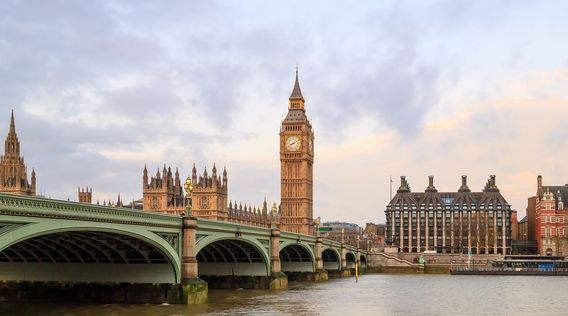 westminiter bridge and houses of parliament in london england