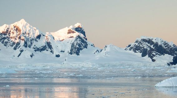 snow caped glacier in antarctic ocean