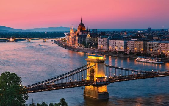 bridgeview in budapest hungary at sunset