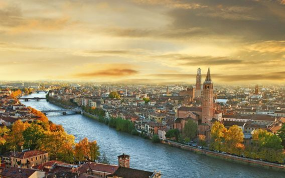 city of verona in italy at sunset