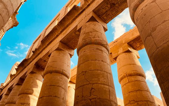 looking up at columns at karnak temple in luxor egypt