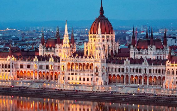 the hungarian parliment building in budapest hungary lit up at night