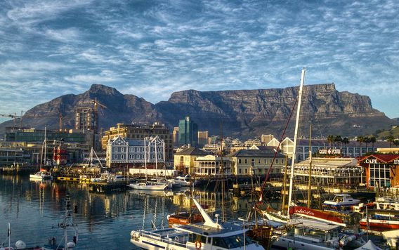 mountains and docks in cape town south africa