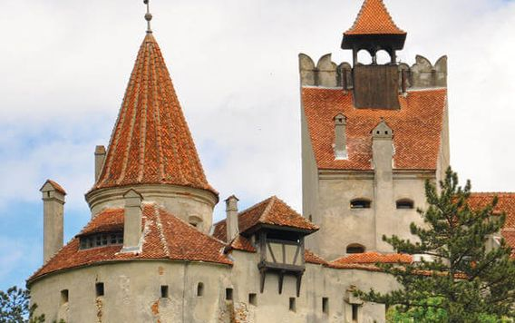 red roofed castle in transylvania