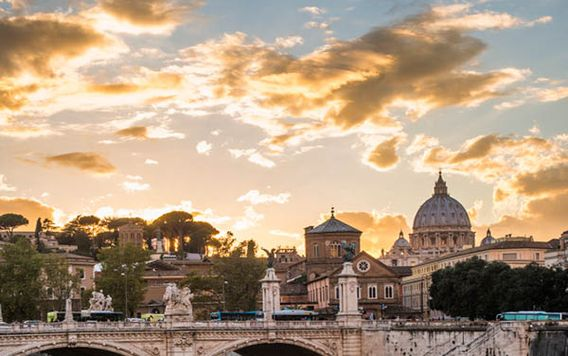 city of rome during cloudy sunset