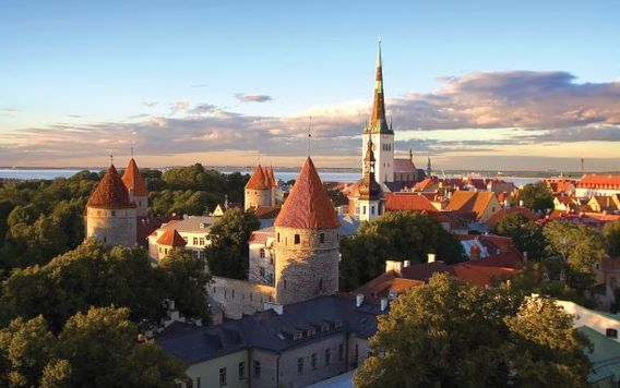 tallinn city view at dawn