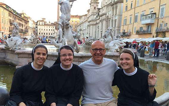 Traveler Dwight meeting nuns in Rome