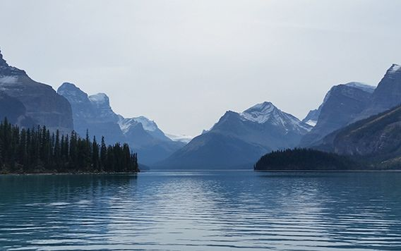 spirit island in canadian rockies in canada
