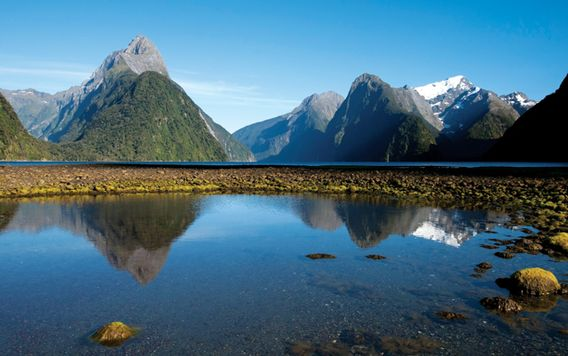 milford sound in fiorland national park new zealand